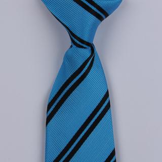 Sky/Black Diagonal Striped Clip-on Tie-0