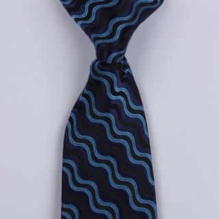 Black/Blue Wave Clip-on Tie