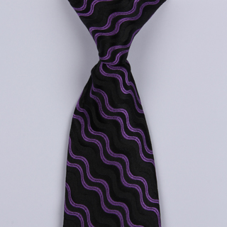 Black/Purple Wave Clip-on Tie-0