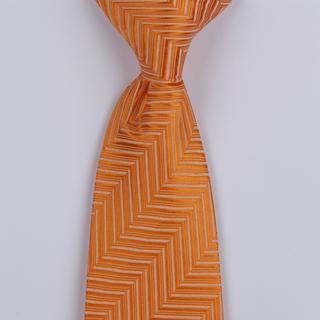 Orange/Cream Herringbone Clip-on Tie-0