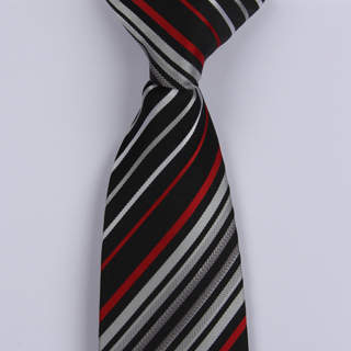 Black/Silver/Red Diagonal Striped Clip-on Tie-0