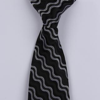 Black/Silver Wave Clip-on Tie-0