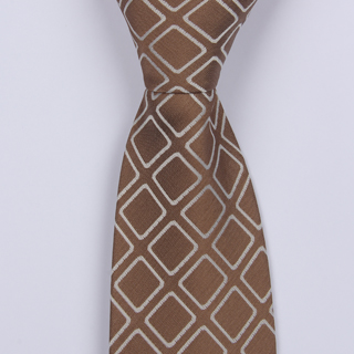 BROWN/WHITE ABSTRACT BOYS TIE