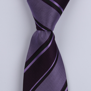 PURPLE BOLD DIAGONAL STRIPES POLYESTER TIE-0