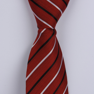 BURNT RED/BLACK/WHITE POLYESTER TIE