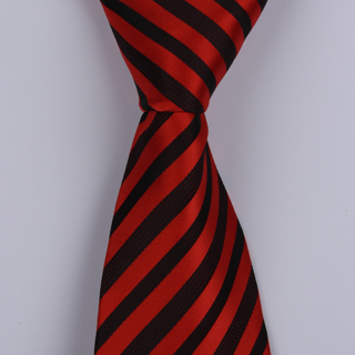 BURNT RED/BLACK DIAGONAL STRIPES POLYESTER TIE-0