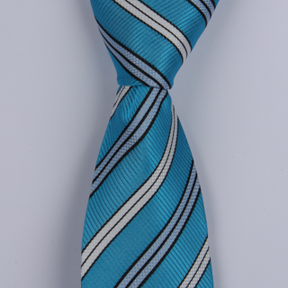BLUE/WHITE DIAGONAL STRIPES POLYESTER TIE-0
