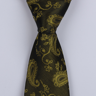 OLIVE GREEN PAISLEY POLYESTER TIE