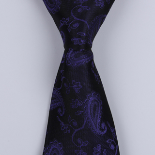 ROYAL BLUE PAISLEY POLYESTER TIE-0