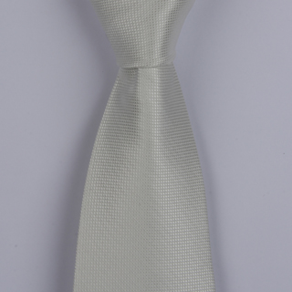 PEARL WHITE micro grid POLYESTER TIE
