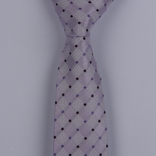 SILVER/LILAC/BLACK  SMALL DIAMONDS POLYESTER SKINNY TIE