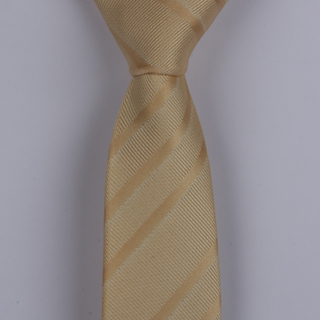 GOLD TEXTURED STRIPES POLYESTER SKINNY TIE