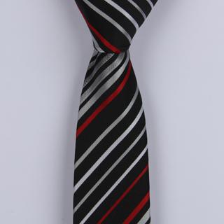 BLACK/SILVER/RED DIAGONAL STRIPES POLYESTER SKINNY TIE-0