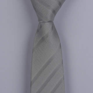 SILVER TEXTURED STRIPES SKINNY POLYESTER TIE-0