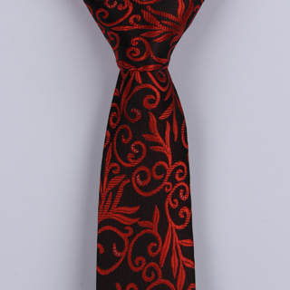 BLACK/BURNT RED PAISLEY POLYESTER SKINNY TIE