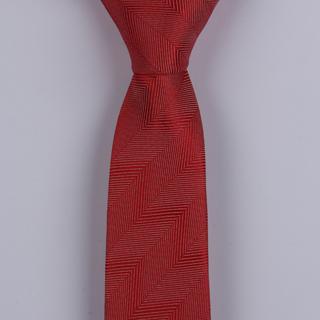 RED herringbone POLYESTER SKINNY TIE-0