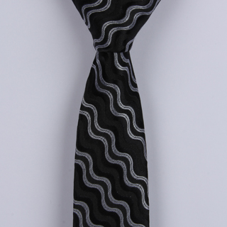 BLACK/SILVER ABSTRACT POLYESTER SKINNY TIE