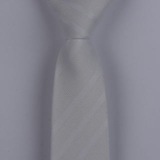 PEARL WHITE TEXTURED DIAGONAL STRIPES POLYESTER SKINNY TIE-0