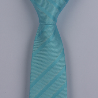 AQUA PATTERENED POLYESTER SKINNY TIE