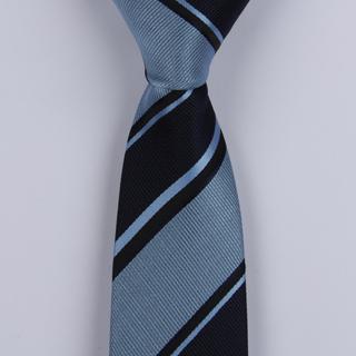 NAVY/DENIM BLUE BOLD DIAGONAL STRIPES POLYESTER SKINNY TIE-0