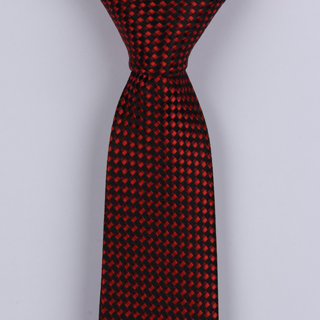 RED/BLACK GEOMETRIC POLYESTER SKINNY TIE