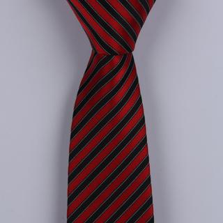 RED/BLACK DIAGONAL STRIPES POLYESTER SKINNY TIE -0