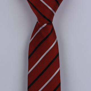 RED/WHITE/BLACK DIAGONAL STRIPES POLYESTER SKINNY TIE