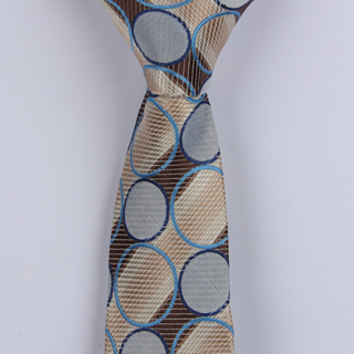 BROWN/BEIGE/BLUE ABSTRACT POLYESTER SKINNY TIE