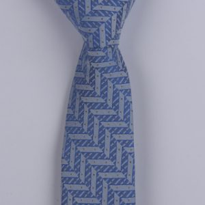 BLUE GEOMETRIC/BLACK PIN DOTS POLYESTER SKINNY TIE-0