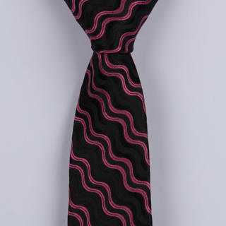 PINK/BLACK ABSTRACT WAVES POLYESTER SKINNY TIE