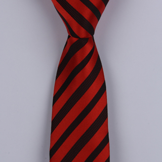 RED/BLACK DIAGONAL STRIPES POLYESTER SKINNY TIE-0