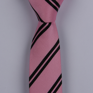 PALE PINK/BLACK DIAGONAL STRIPES POLYESTER TIE