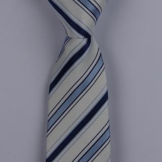 WHITE/BLUE MULTI DIAGONAL STRIPES POLYESTER SKINNY TIE-0