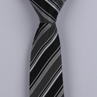 CHARCOAL/WHITE DIAGONAL STRIPES POLYESTER SKINNY TIE
