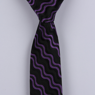 PURPLE/BLACK ABSTRACT POLYESTER SKINNY TIE