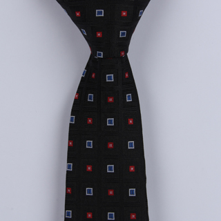 BLACK/RED/BLUE SMALL SQUARES POLYESTER SKINNY TIE-0