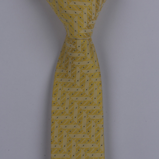 CANARY YELLOW GEOMETRIC/BLACK PIN DOTS POLYESTER SKINNY TIE-0
