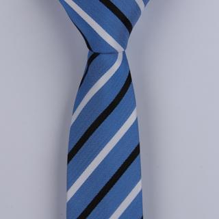 BLUE/BLACK/WHITE DIAGONAL STRIPES POLYESTER SKINNY TIE-0