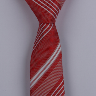 BURNT RED/WHITE DIAGONAL STRIPES POLYESTER SKINNY TIE