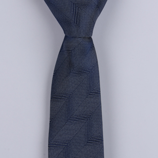 DENIM BLUE HERRINGBONE POLYESTER SKINNY TIE-0