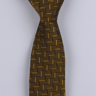 BURNT YELLOW ABSTRACT POLYESTER SKINNY TIE