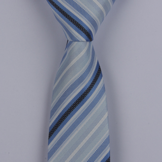 BLUE/WHITE DIAGONAL STRIPES POLYESTER SKINNY TIE-0