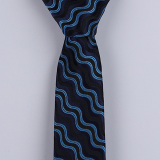 BLUE/MULTI ABSTRACT POLYESTER SKINNY TIE