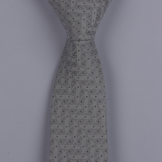 SILVER ABSTRACT/BLACK PIN DOTS POLYESTER SKINNY TIE-0