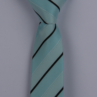 AQUA BLUE/BLACK DIAGONAL STRIPES POLYESTER SKINNY TIE