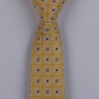 MUSTARD YELLOW/BLUE SQUARES POLYESTER SKINNY TIE