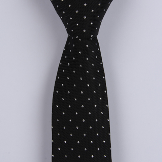 BLACK TEXTURED/ WHITE PIN DOTS POLYESTER SKINNY TIE-0