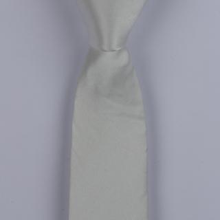 White Skinny Silk Satin Tie-0