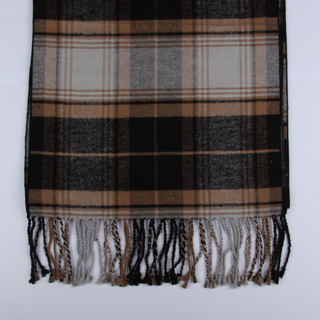 Black/Brown Tartan Brushed Silk Scarves-0