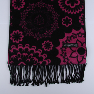 Black/Hot Pink Floral Brushed Silk Scarf-0